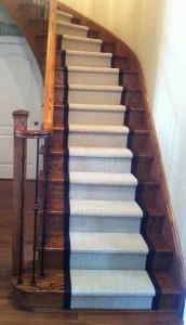 Staircase with Sisal Carpet Runner