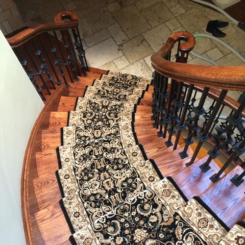 Traditional Carpet runner on Curve staircase in Mississauga