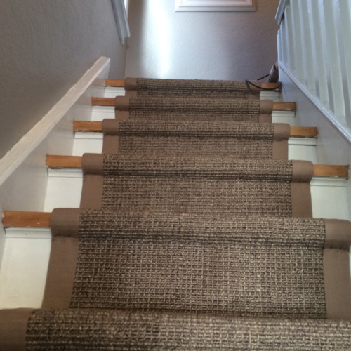 Natural Sisal Carpet Runner on Stairs in Oakville
