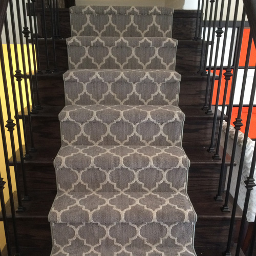 Modern Carpet Runner on Stairs, Dark staircase Contemporary designs Gray colour in Oakville